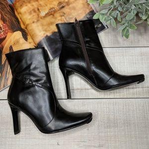 BCBG Dark Brown/Black Heeled Ankle Boots